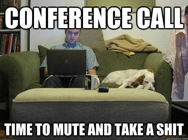 conference call time to mute and take a shit  Freelancer Fred