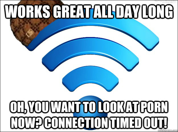 Works great all day long oh, you want to look at porn now? Connection Timed Out!  Scumbag Wireless