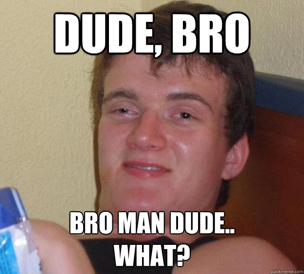 Dude, bro Bro man dude.. what? - Dude, bro Bro man dude.. what?  10 Guy