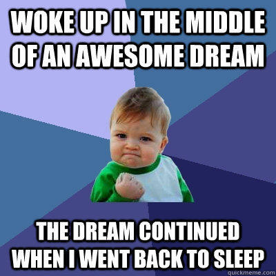 woke up in the middle of an awesome dream the dream continued when i went back to sleep - woke up in the middle of an awesome dream the dream continued when i went back to sleep  Success Kid