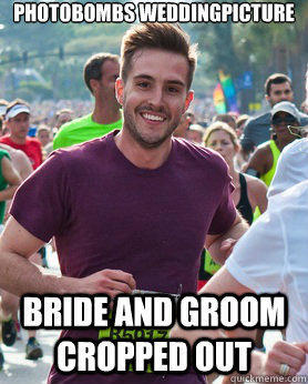 Photobombs weddingpicture bride and groom cropped out - Photobombs weddingpicture bride and groom cropped out  Ridiculously photogenic guy
