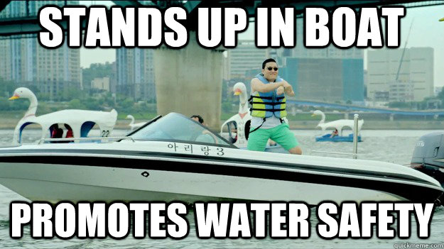 stands up in boat promotes water safety