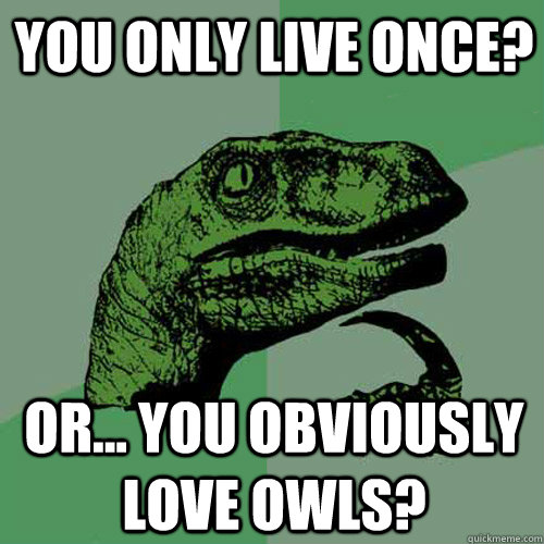 You only live once?  or... You obviously love owls?   Philosoraptor
