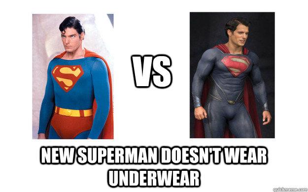 Funny Underwear Meme : Vs new superman doesn t wear underwear differences