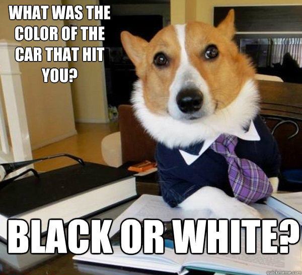 What was the color of the car that hit you? Black or White? - What was the color of the car that hit you? Black or White?  Lawyer Dog
