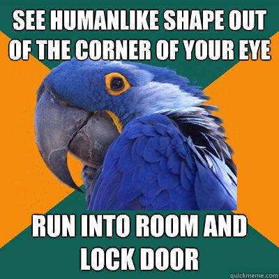 see humanlike shape out of the corner of your eye run into room and lock door - see humanlike shape out of the corner of your eye run into room and lock door  Paranoid Parrot
