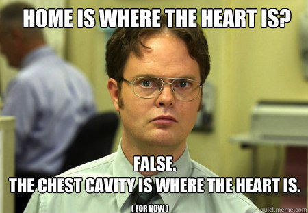 Home is where the heart is? FALSE.   the Chest Cavity is where the heart is. ( for now ) - Home is where the heart is? FALSE.   the Chest Cavity is where the heart is. ( for now )  Schrute