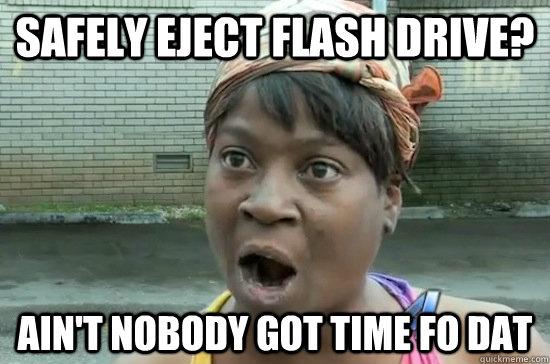 Safely eject flash drive? ain't nobody got time fo dat  Aint nobody got time for that