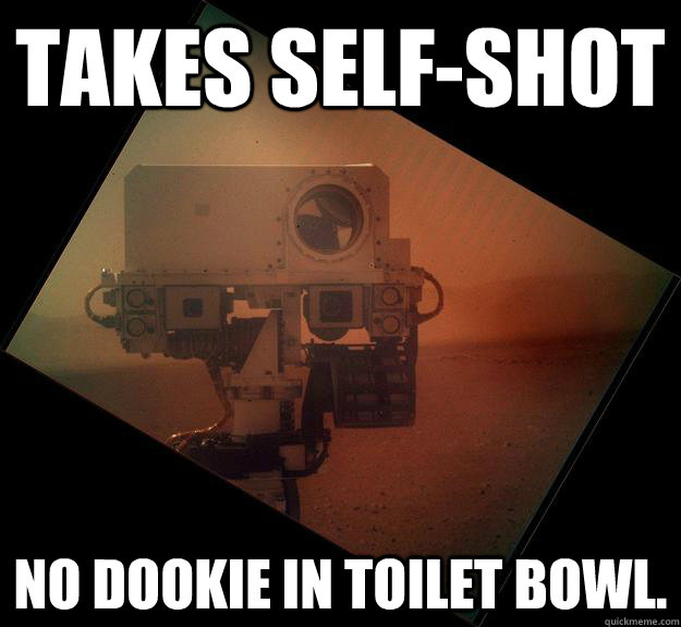 Takes self-shot No dookie in toilet bowl.