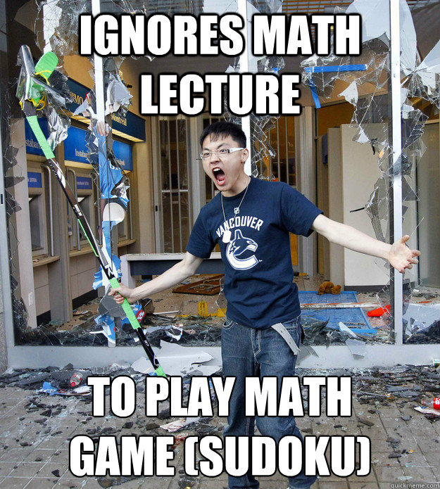 ignores math lecture to play math  game (sudoku)  Rebellious Asian