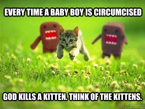 Every time a baby boy is circumcised God kills a kitten. Think of the kittens.