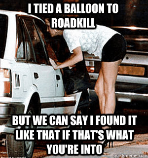 I tied a balloon to roadkill But we can say I found it like that if that's what you're into - I tied a balloon to roadkill But we can say I found it like that if that's what you're into  Karma Whore
