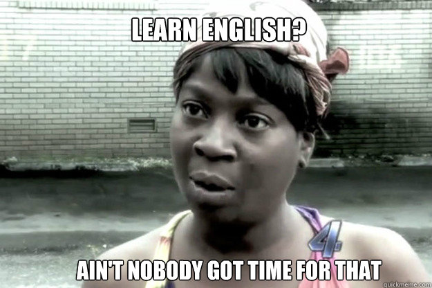 learn english?  ain't nobody got time for that - learn english?  ain't nobody got time for that  A haiku from Sweet Brown