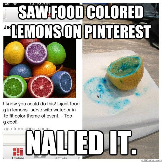 saw food colored lemons on Pinterest nalied it.  Nailed It