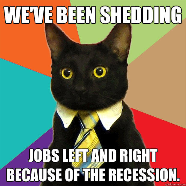 WE'VE BEEN SHEDDING JOBS LEFT AND RIGHT BECAUSE OF THE RECESSION. - WE'VE BEEN SHEDDING JOBS LEFT AND RIGHT BECAUSE OF THE RECESSION.  Business Cat