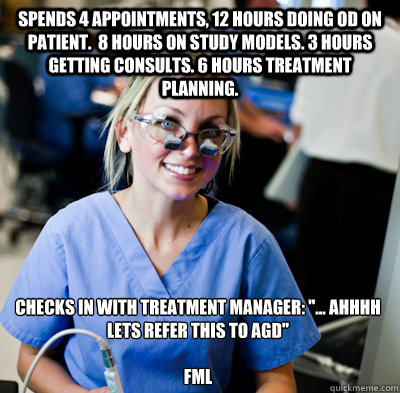 Spends 4 appointments, 12 hours doing OD on patient.  8 hours on study models. 3 hours getting consults. 6 hours treatment planning. Checks in with treatment manager: