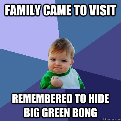 Family came to visit remembered to hide big green bong - Family came to visit remembered to hide big green bong  Success Kid