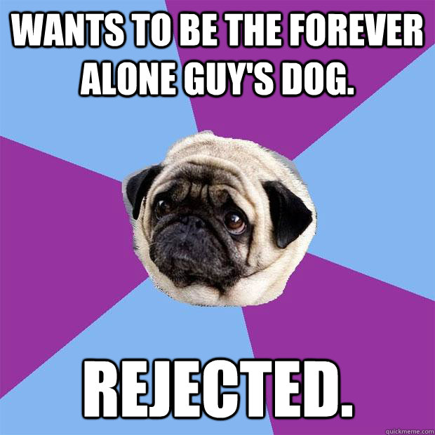 Wants to be the Forever Alone guy's dog. Rejected. - Wants to be the Forever Alone guy's dog. Rejected.  Lonely Pug