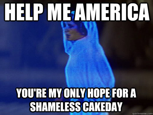 Help me America you're my only hope for a shameless cakeday