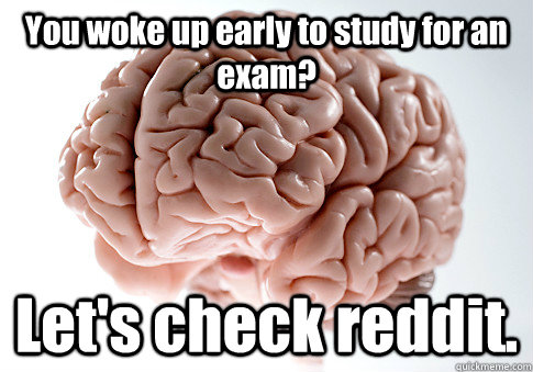 You woke up early to study for an exam? Let's check reddit.  - You woke up early to study for an exam? Let's check reddit.   Scumbag Brain