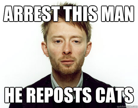 Arrest this man He reposts cats - Arrest this man He reposts cats  Freak Monkey Thom Yorke