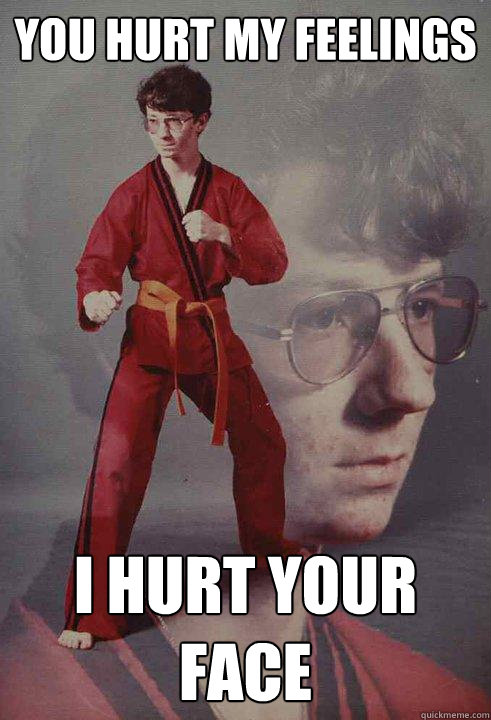 You hurt my Feelings I hurt your face - You hurt my Feelings I hurt your face  Karate Kyle