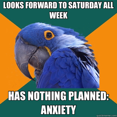 LOOKS FORWARD TO SATURDAY ALL WEEK HAS NOTHING PLANNED: ANXIETY - LOOKS FORWARD TO SATURDAY ALL WEEK HAS NOTHING PLANNED: ANXIETY  Paranoid Parrot