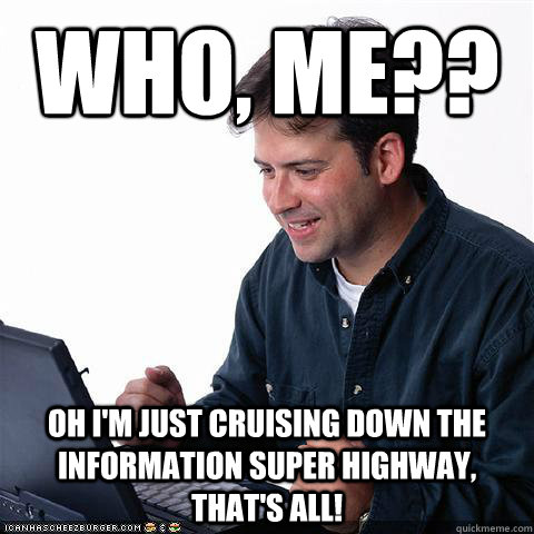 Who, me?? Oh I'm just cruising down the information super highway, that's all!