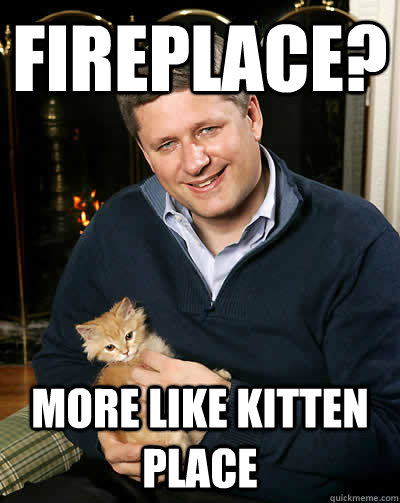 fireplace? more like kitten place  Scumbag harper
