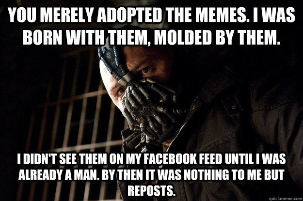 you merely adopted the memes. i was born with them, molded by them. i didn't see them on my facebook feed until i was already a man. by then it was nothing to me but reposts. - you merely adopted the memes. i was born with them, molded by them. i didn't see them on my facebook feed until i was already a man. by then it was nothing to me but reposts.  Angry Bane