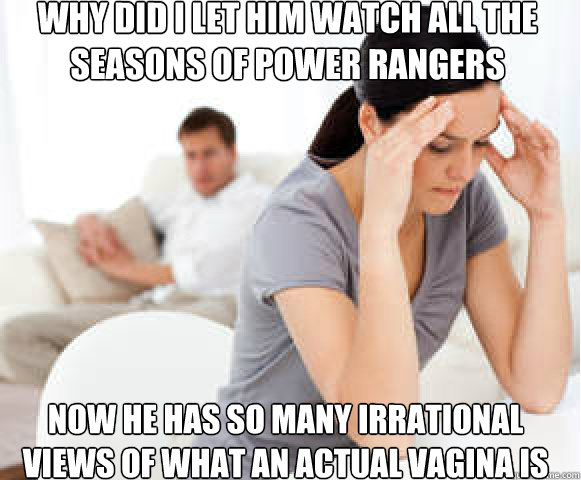 Why did I let him watch all the seasons of Power Rangers Now he has so many irrational views of what an actual vagina is