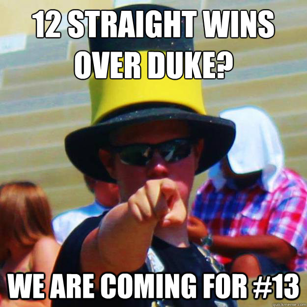 12 straight wins over Duke? We are coming for #13 - 12 straight wins over Duke? We are coming for #13  Intimidating Sports Fan