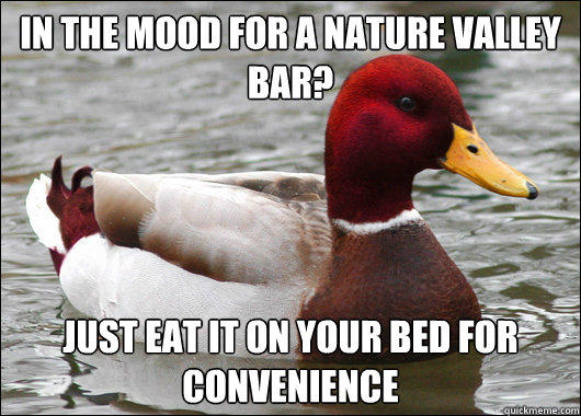 in the mood for a nature valley bar?  just eat it on your bed for convenience - in the mood for a nature valley bar?  just eat it on your bed for convenience  Malicious Advice Mallard