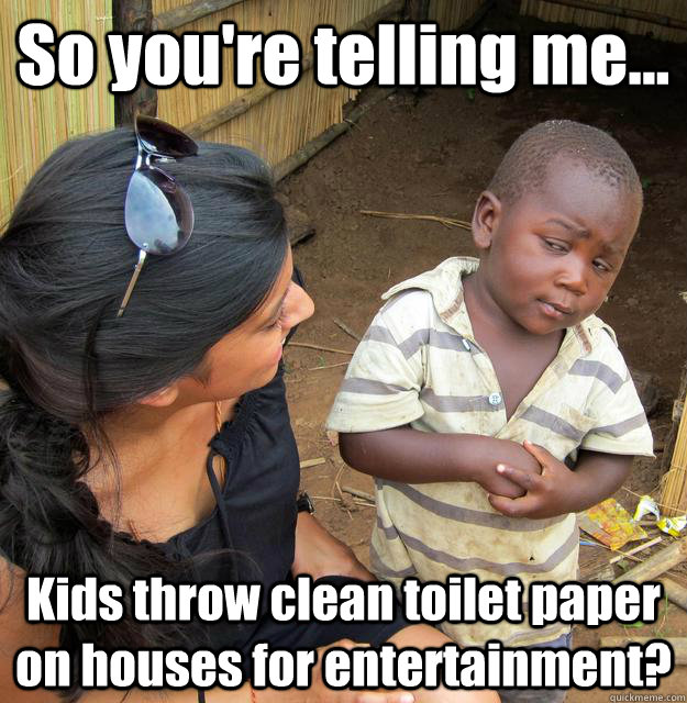 So you're telling me... Kids throw clean toilet paper on houses for entertainment? - So you're telling me... Kids throw clean toilet paper on houses for entertainment?  3rd World Skeptical Child