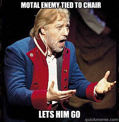 Motal enemy tied to chair Lets him go