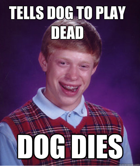 Tells dog to play dead Dog dies - Tells dog to play dead Dog dies  Bad Luck Brian