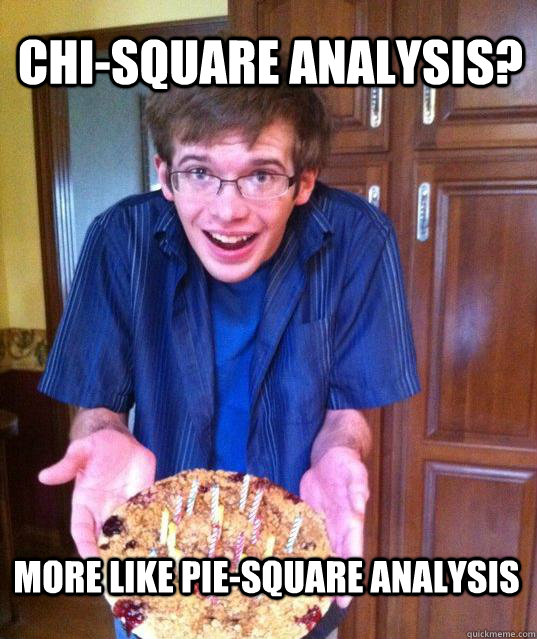 Chi-square Analysis? More like pie-square analysis  Psychology Major Meme