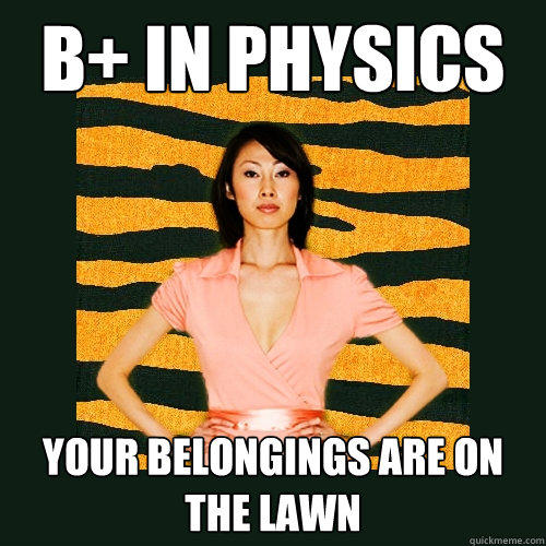 B+ in physics your belongings are on the lawn