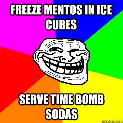 freeze mentos in ice cubes serve time bomb sodas