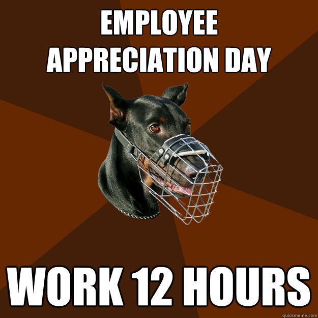 1db2bcd8a721b36622abbf5e5d0456f675798fc6bddbcc88a73d42e368785a6f employee appreciation day work 12 hours developer doberman