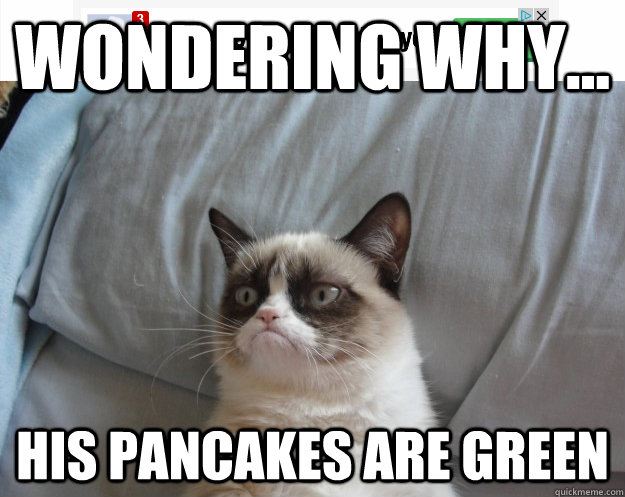 Wondering why... His pancakes are green - Wondering why... His pancakes are green  Grumpy Cat on Being Unfriended