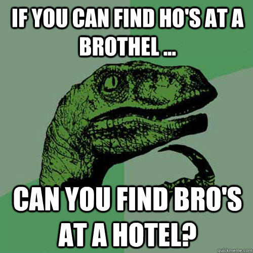 If you can find Ho's at a brothel ... can you find bro's at a hotel? - If you can find Ho's at a brothel ... can you find bro's at a hotel?  Philosoraptor