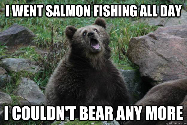 I went salmon fishing all day I couldn't bear any more - I went salmon fishing all day I couldn't bear any more  Boredom Bear