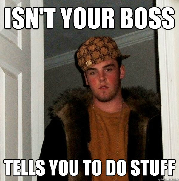 Isn't your boss tells you to do stuff - Isn't your boss tells you to do stuff  Scumbag Steve