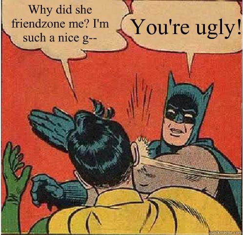 Why did she friendzone me? I'm such a nice g--  You're ugly!   Batman Slapping Robin
