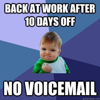 Back at work after 10 days off no voicemail - Back at work after 10 days off no voicemail  Success Kid
