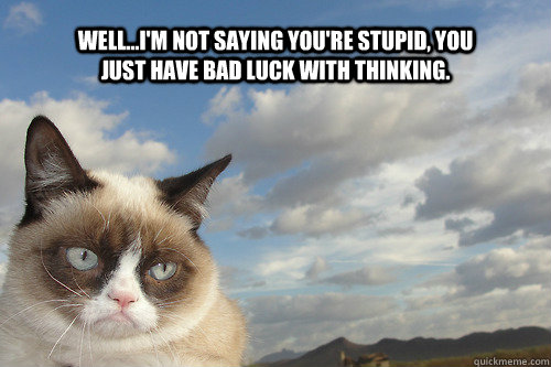 well...i'm not saying you're stupid, you just have bad luck with thinking.