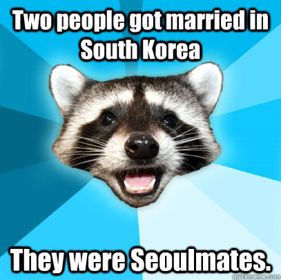 Two people got married in South Korea They were Seoulmates. - Two people got married in South Korea They were Seoulmates.  Lame Pun Coon
