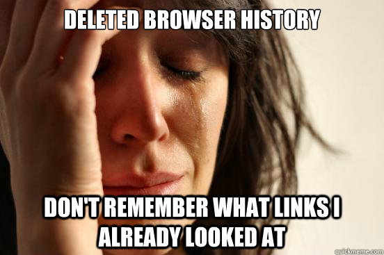 Deleted browser history Don't remember what links I already looked at - Deleted browser history Don't remember what links I already looked at  First World Problems