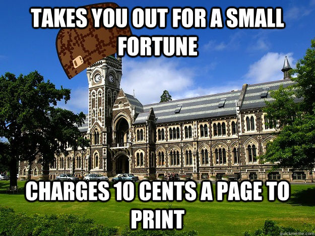 Takes you out for a small fortune Charges 10 cents a page to print